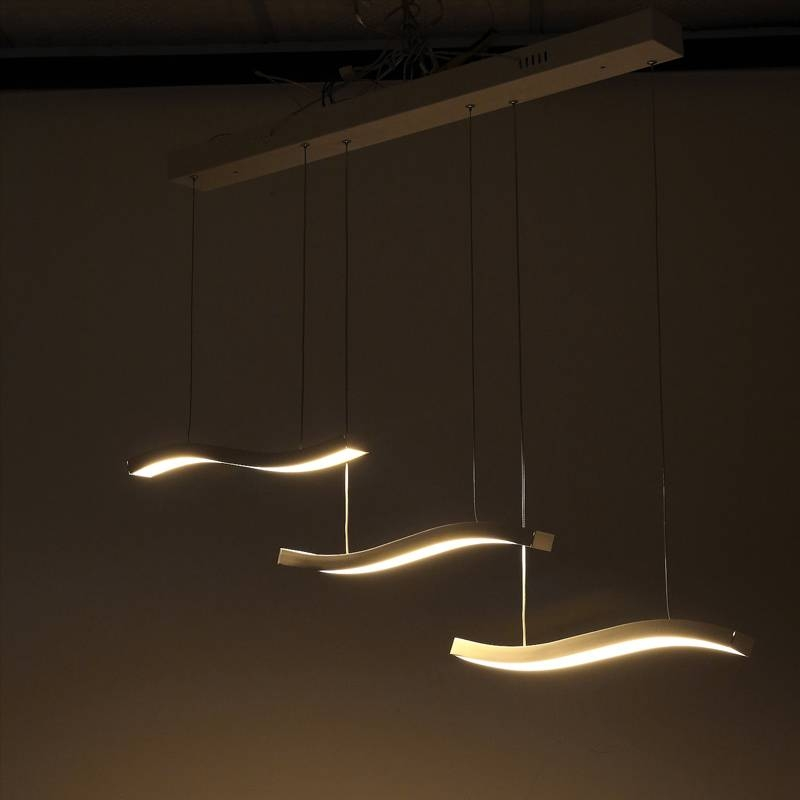 Three Wave Led Contemporary Pendant Light Fixture | Modern (#14 of 15)