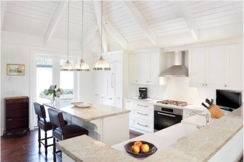 Three White Half Ball Pendant Lights Hang From A Tall Vaulted In Pendant Lights For Vaulted Ceilings (#13 of 15)