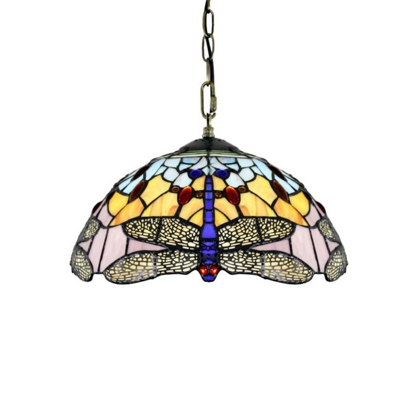 Tiffany Style Pendant Light With Blue Dragonfly Pattern – Parrotuncle With Stained Glass Pendant Lights (#15 of 15)