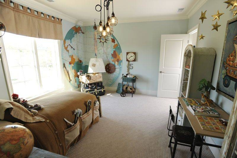 Traditional Kids Bedroom With Specialty Door & Mural   Zillow Digs For Paxton Glass 3 Light Pendants (#14 of 15)
