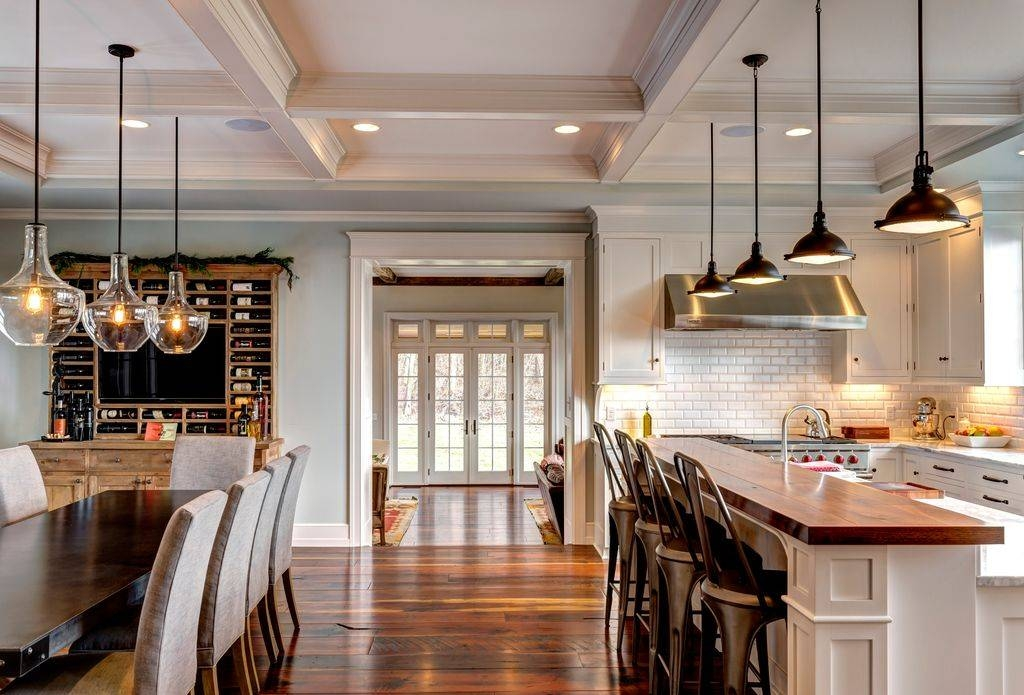 Traditional Kitchen With Flat Panel Cabinetsdon Farinelli With Regard To Kichler Pendant Lighting For Kitchen (#15 of 15)