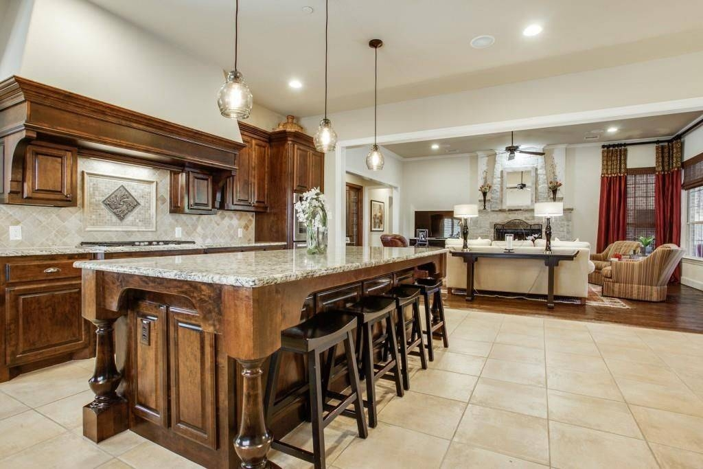 Traditional Kitchen With High Ceiling & Stone Tile In Allen, Tx With Regard To Paxton Glass Pendants (#13 of 15)