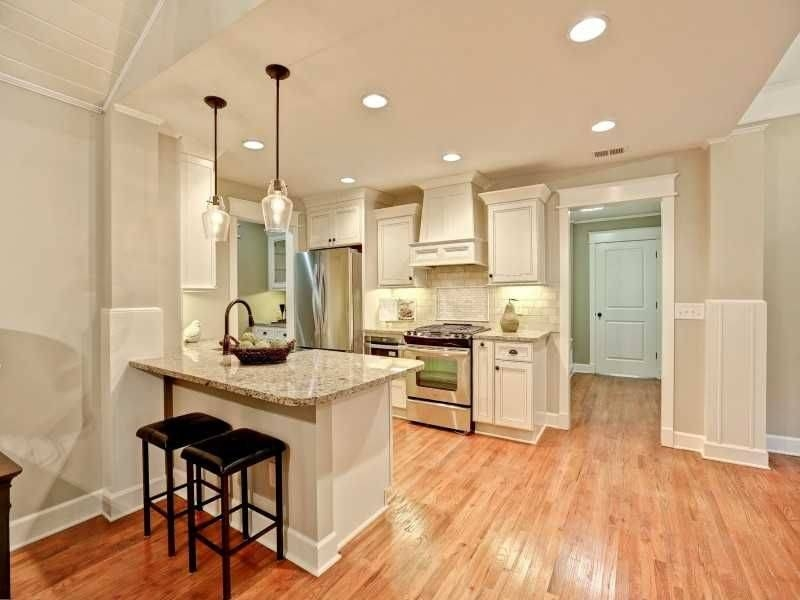 Traditional Kitchen With One Wall & Flat Panel Cabinets In Atlanta With Paxton Glass Pendants (#14 of 15)