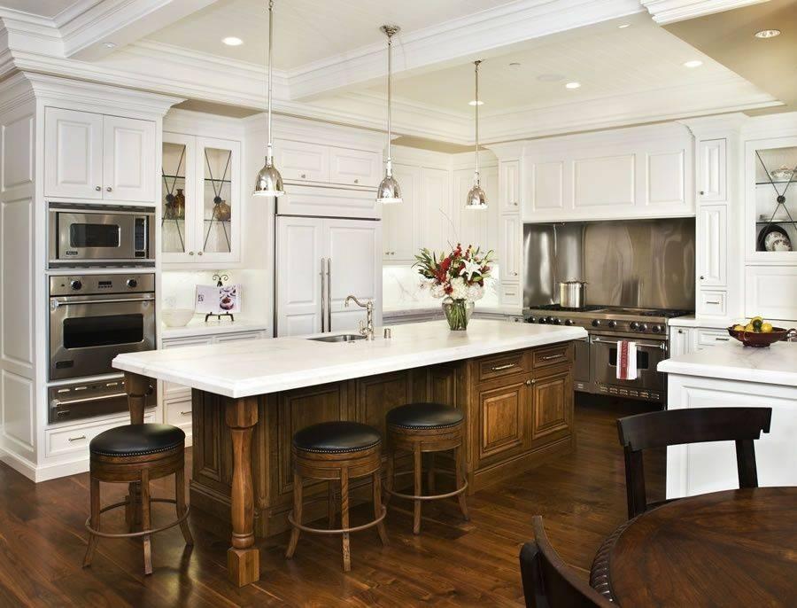 Traditional Kitchen With Raised Panelkimberly Larzelere Regarding Benson Pendants (#13 of 15)