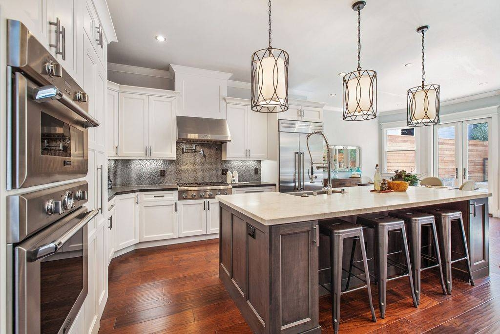 Traditional Kitchen With Simple Marble Counters & Limestone Intended For Troy Sausalito Pendants (View 14 of 15)