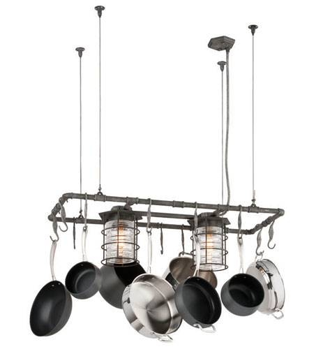 Troy Lighting F3798 Brunswick 2 Light 44 Inch Aged Pewter Island With Regard To Pot Rack With Lights Fixtures (#15 of 15)
