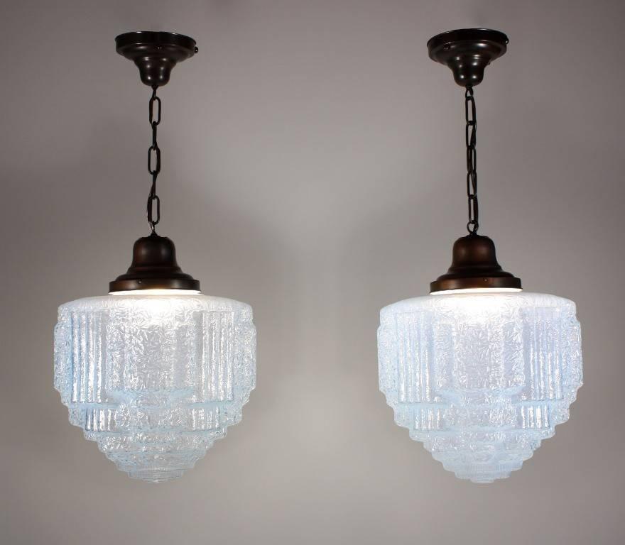Two Matching Antique Art Deco Skyscraper Pendant Lights, Blue With Art Nouveau Pendant Lights (#15 of 15)