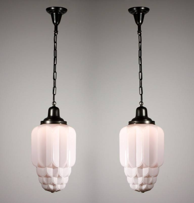 Two Matching Antique Art Deco Skyscraper Pendant Lights With Sun In Art Nouveau Pendant Lights (View 13 of 15)