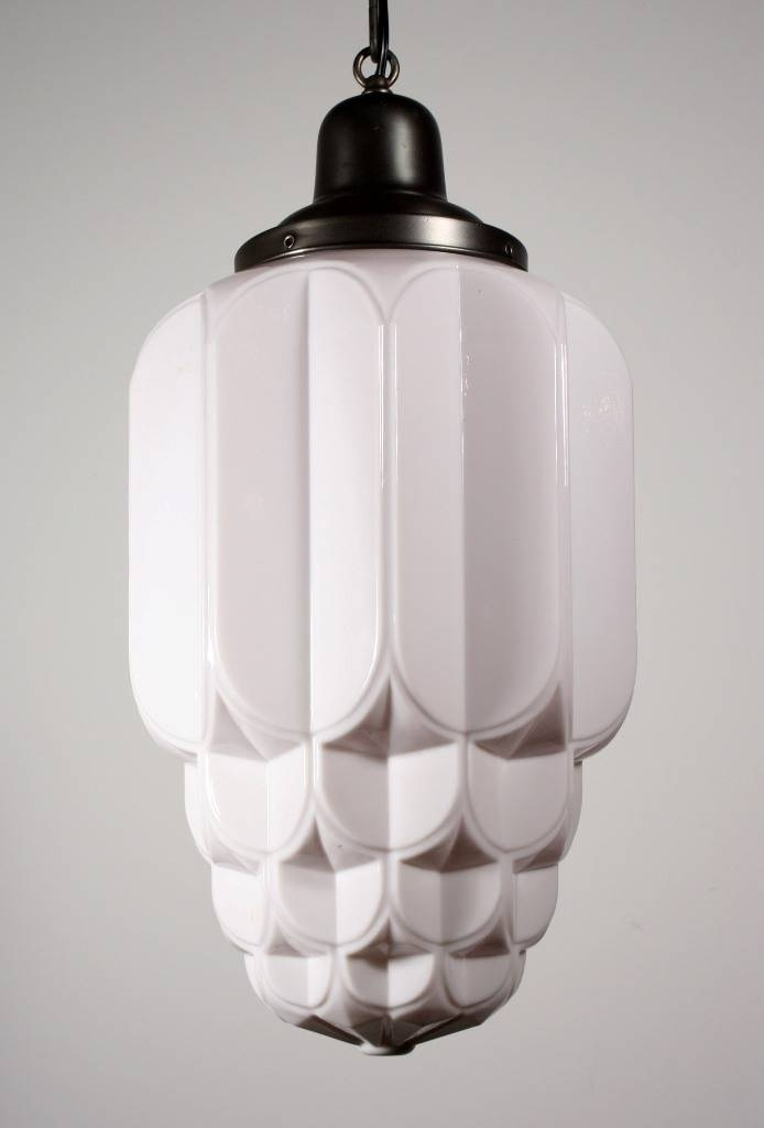 Two Matching Antique Art Deco Skyscraper Pendant Lights With Sun Intended For Art Nouveau Pendant Lights (#14 of 15)