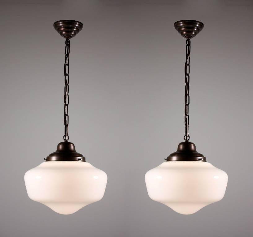 Two Matching Antique Schoolhouse Lights With Glass Globes With Schoolhouse Pendant Lights Fixtures (#14 of 15)