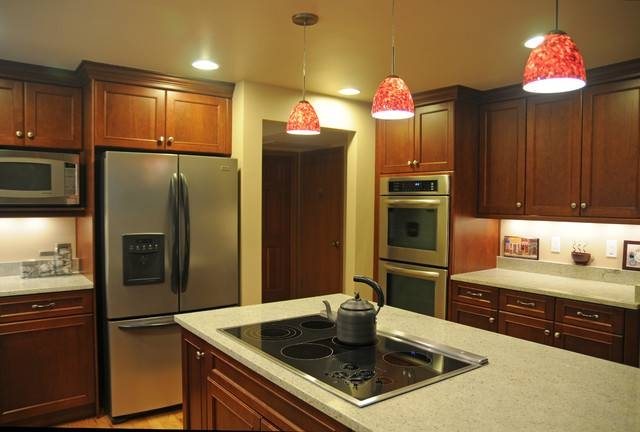 Inspiration about U Shape Kitchen With Red Pendant Lighting Over Island Intended For Red Pendant Lights For Kitchen (#8 of 15)