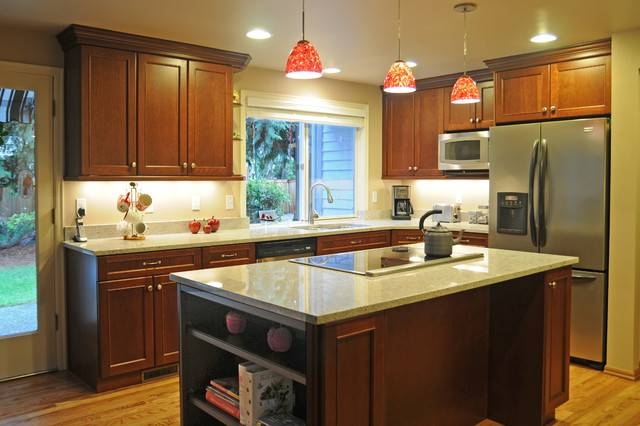 Inspiration about U Shape Kitchen With Red Pendant Lighting Over Island Throughout Red Pendant Lights For Kitchen (#6 of 15)