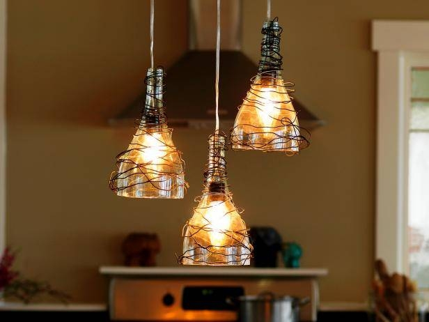Upcycle Wine Bottle Into Pendant Light Fixtures | How Tos | Diy Intended For Diy Multi Pendant Lights (#15 of 15)