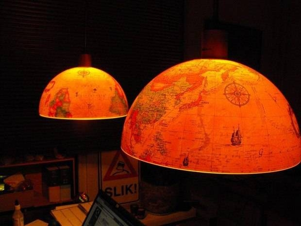 Inspiration about Upcycled World Globe – Easy Diy Pendant Lights For World Globe Lights Fixtures (#12 of 15)