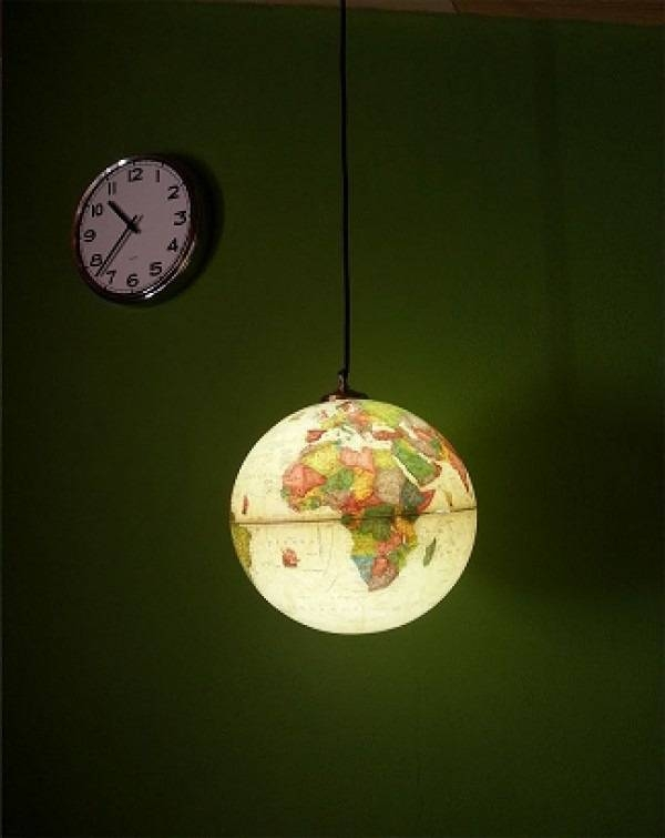 Upcycled World Globe – Easy Diy Pendant Lights In Earth Globe Lights Fixtures (View 8 of 15)