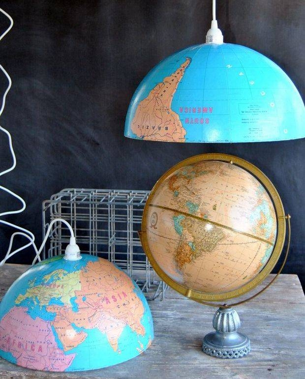 Inspiration about Upcycled World Globe – Easy Diy Pendant Lights With Homemade Pendant Lights (#13 of 15)