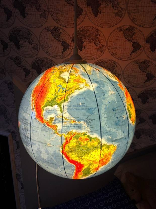 Upcycled World Globe – Easy Diy Pendant Lights With Regard To Earth Globe Lights Fixtures (View 6 of 15)