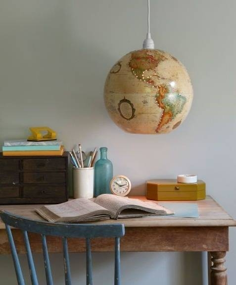 Inspiration about Upcycled World Globe – Easy Diy Pendant Lights Within World Globe Pendant Lights (#8 of 15)