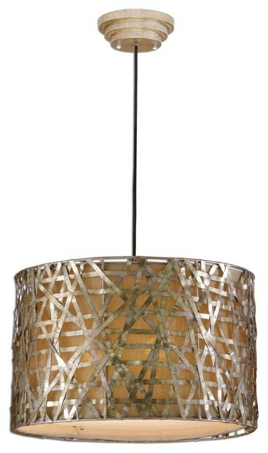 Inspiration about Uttermost 21108 Alita Champagne Metal Drum Pendant – Industrial With Regard To Uttermost Pendant Lights (#8 of 15)