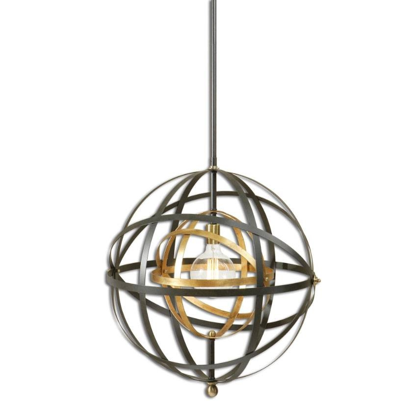 Uttermost 22038 Rondure Contemporary Dark Oil Rubbed Bronze Finish With Uttermost Pendant Lights (#8 of 15)