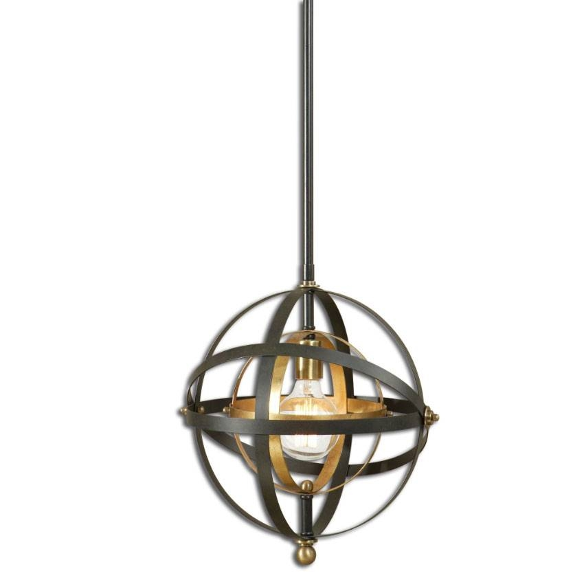 Inspiration about Uttermost 22039 Rondure Modern Dark Oil Rubbed Bronze Finish 52 Inside Bronze Pendants (#6 of 15)