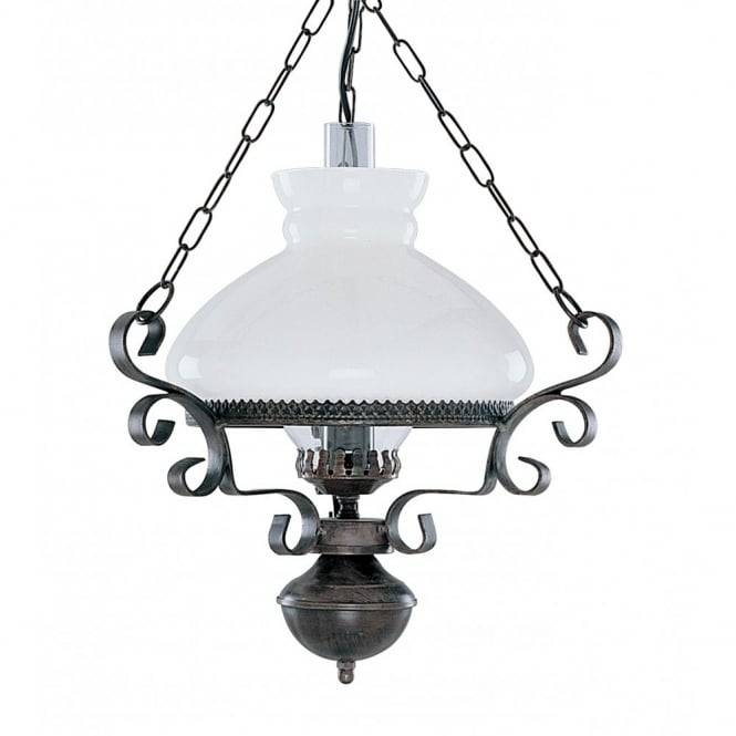 Victorian Hanging Oil Lantern Pendant Light, Rustic With Opal Glass For Edwardian Lamp Pendant Lights (#12 of 15)