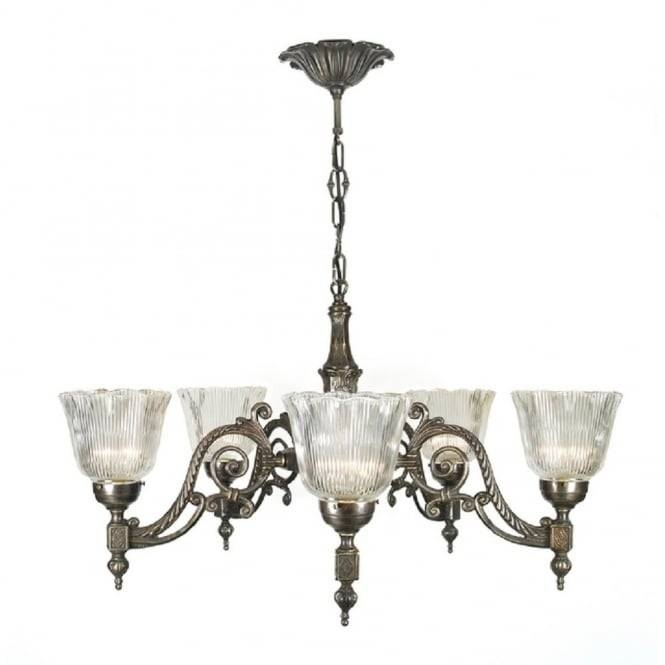 Victorian Or Edwardian Aged Brass Chandelier With Halophane Shades In Edwardian Lights Fixtures (View 9 of 15)