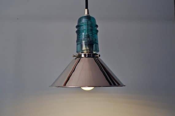 Inspiration about Vintage Glass Insulator With Chrome Shade Pendant Lighting | Id Lights Throughout Insulator Pendant Lights (#15 of 15)
