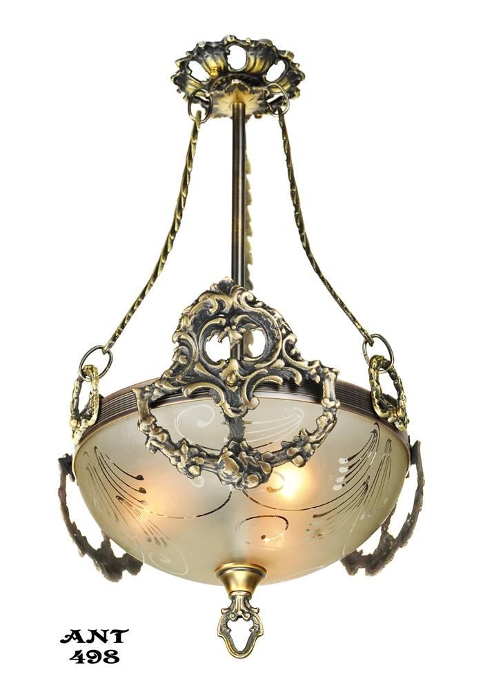 Vintage Hardware & Lighting – Antique Edwardian Ceiling Bowl With Edwardian Pendant Lights (View 11 of 15)
