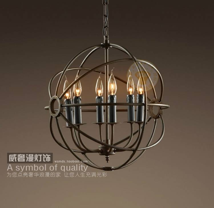 Vintage Industrial Black Wrought Iron Globe Candle Pendant Light Inside Black Wrought Iron Pendant Lights (#14 of 15)