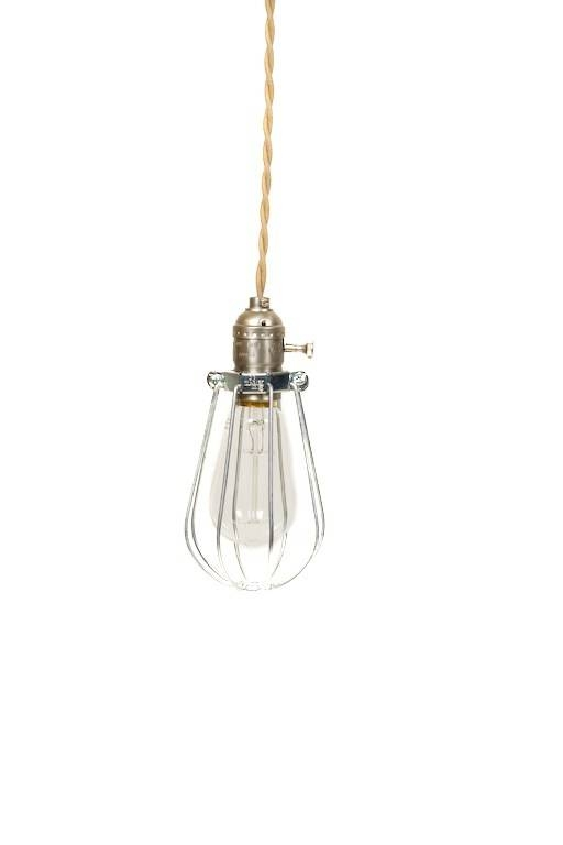 Vintage Industrial Caged – Silver Minimalist Bare Bulb Pendant Regarding Bare Bulb Pendant Light Fixtures (#15 of 15)