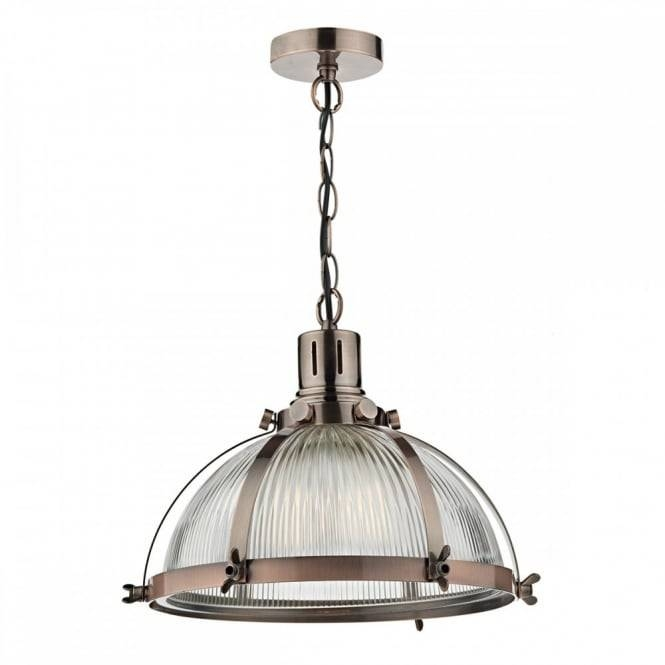 Vintage Industrial Design Ceiling Pendant In Antique Copper Intended For Glass Pendant Lights Fittings (#15 of 15)