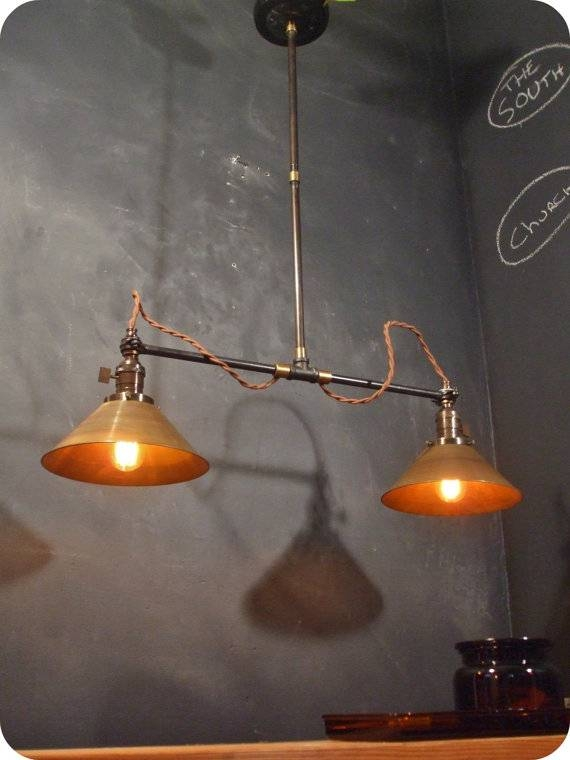 Inspiration about Vintage Industrial Double Shade Ceiling Sconce Machine Age Within Double Pendant Lights (#9 of 15)