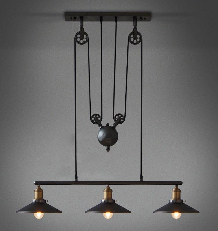 Inspiration about Vintage Industrial Pulley Light Fixture | Design Ideas & Decors Regarding Double Pulley Pendant Lights (#1 of 15)