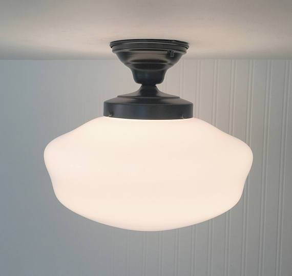 Vintage Large Schoolhouse Ceiling Light With Semi Flush Mount Inside Large Schoolhouse Lights (#14 of 15)