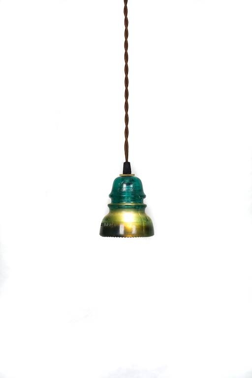 Inspiration about Vintage Repurposed Railroad Telegraph Insulator Pendant Light Regarding Railroad Pendant Lights (#6 of 15)
