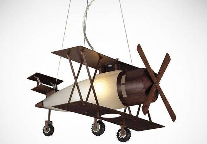 Walnut Bi Plane Hanging Pendant – Coolpile Intended For Airplane Pendant Lights (#15 of 15)