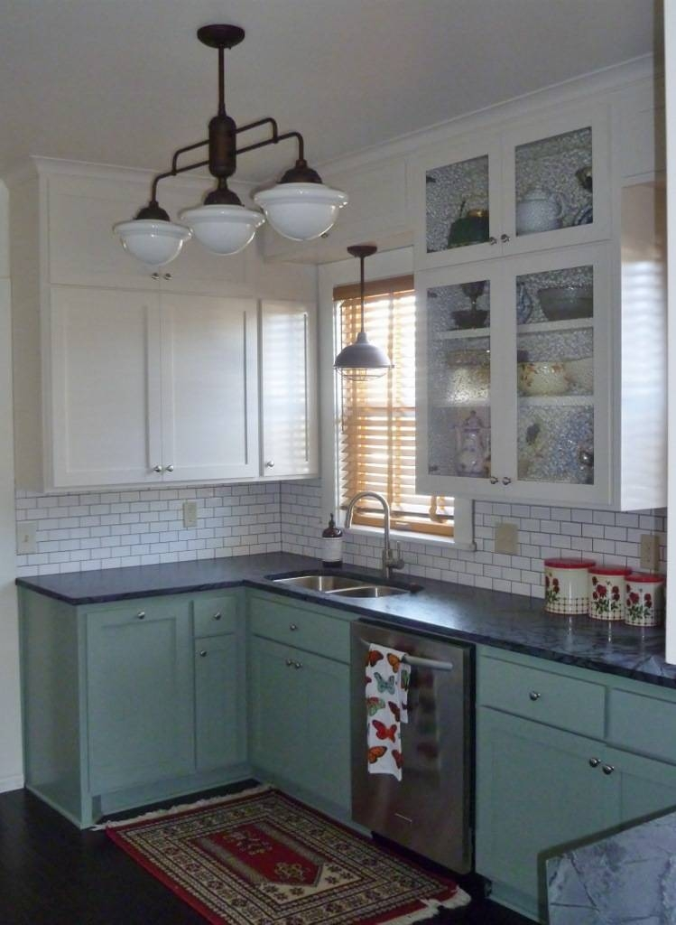 Warehouse Shades, Schoolhouse Lights Feature In Kitchen Remodel Pertaining To Large Schoolhouse Pendant Lights (#14 of 15)