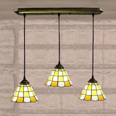 White Finished Yellow Pattern 24 Inch Kitchen Pendant Lighting In Throughout Stained Glass Pendant Light Patterns (View 9 of 15)