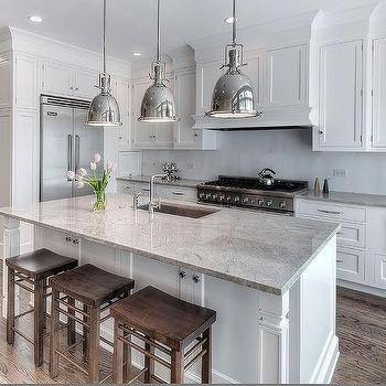 White Kitchen Cabinets With Tan Granite Countertops – Transitional Throughout Benson Pendants (View 11 of 15)