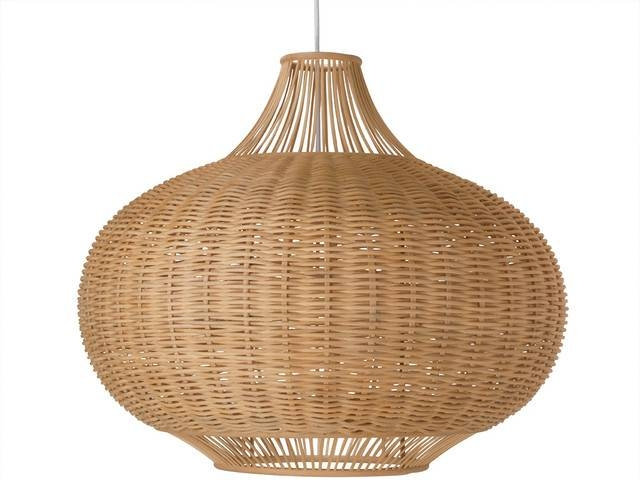 Wicker Pear Shaped Pendant Lamp, Extra Large – Tropical – Pendant Intended For Rattan Pendant Lighting (#14 of 15)