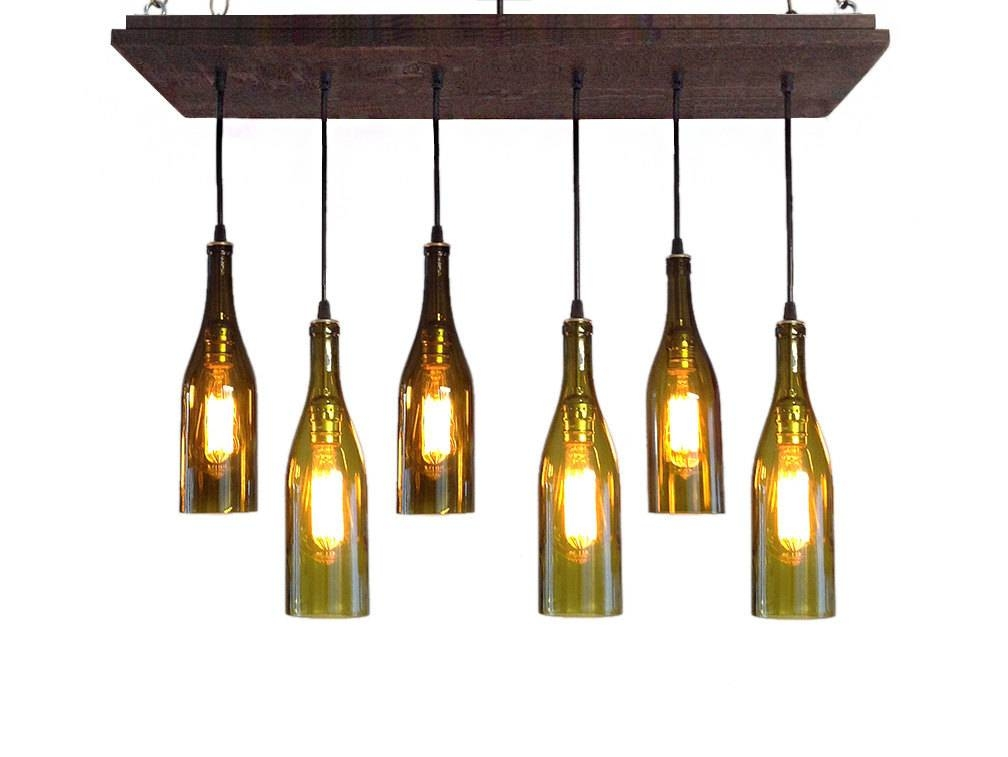 Wine Bottle Chandelier Rustic Chandelier Modern Lighting Pertaining To Wine Bottle Pendant Lights (#13 of 16)
