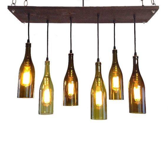 Wine Bottle Light Fixture Chandelier – Jeffreypeak Pertaining To Wine Glass Lights Fixtures (#14 of 15)