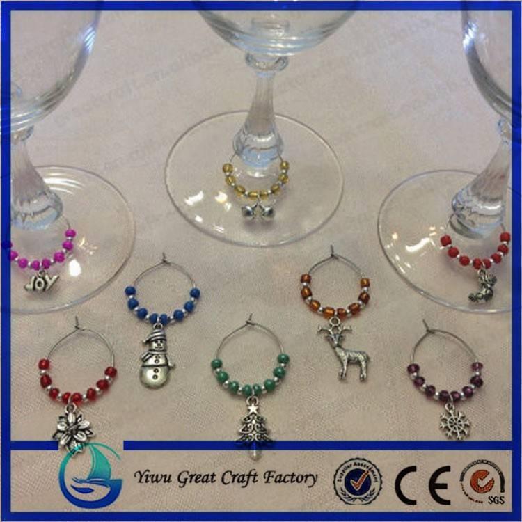 Wine Glass Charm Pendants Enamel Christmas Wine Glass Marker Mixed Within Wine Glass Pendants (#14 of 15)