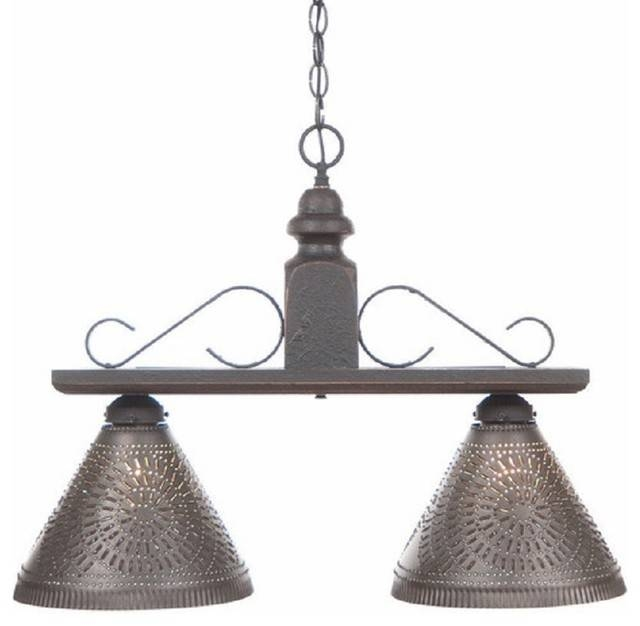 Wood And Iron Island Bar Light With Punched Tin Shades Within Punched Tin Pendant Lights (#15 of 15)
