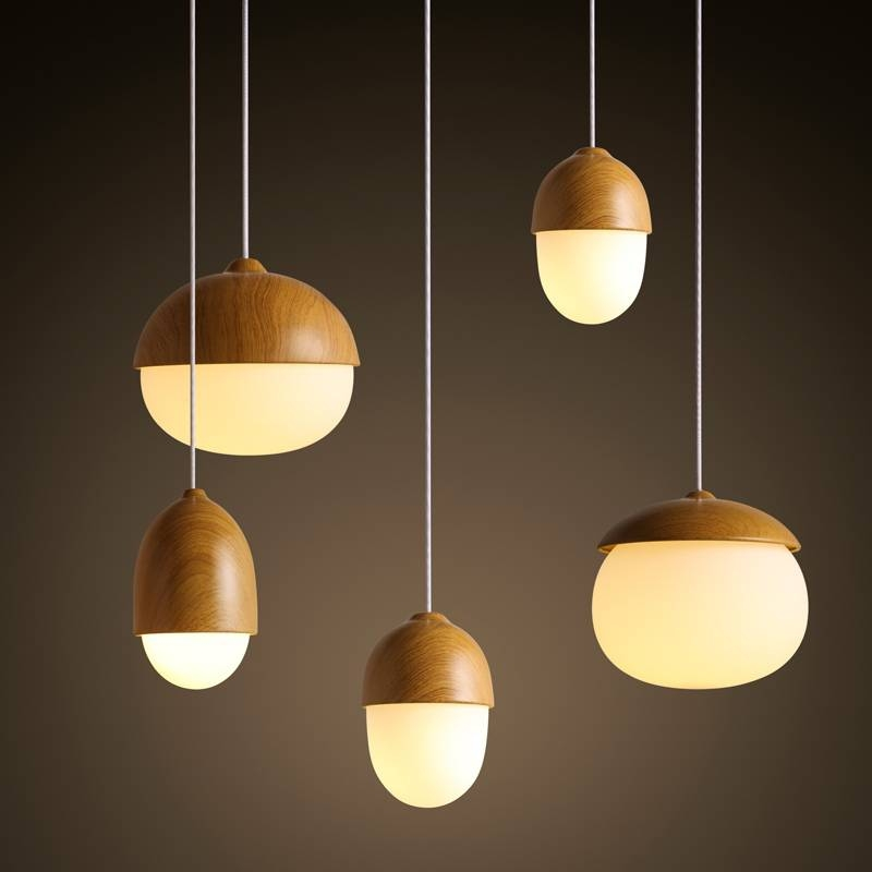 Wood Nuts Shaped Handing Lamp Led Modern Pendant Lamp For Home Pertaining To Nut Pendant Lights (View 3 of 15)