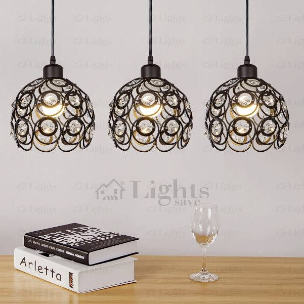 Wrought Iron And Crystal Three Light Modern Multi Pendant Lights Throughout Wrought Iron Light Pendants (View 6 of 15)