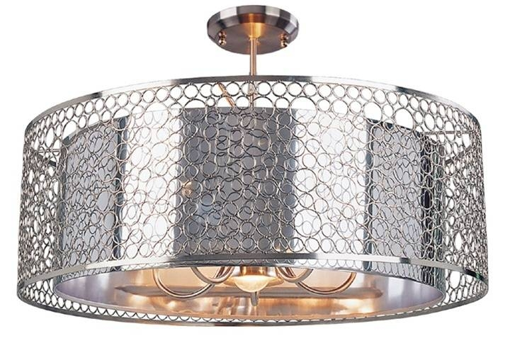 Z Lite 158 26 Saatchi Brushed Nickel 6 Light Drum Chandelier Within Brushed Nickel Drum Lights (#14 of 15)