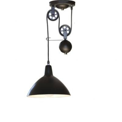 10 Inches Wide Single Light Matte Black Industrial Pendant Light With Adjustable Pulley Pendant Lights (View 2 of 16)