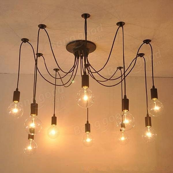 Inspiration about 10 Lights Edison Retro Spider Chandelier Pendant Light 110 220V Intended For Most Recently Released Spider Pendant Lights (#1 of 15)